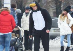 У центрі Черкас розгулював пінгвін