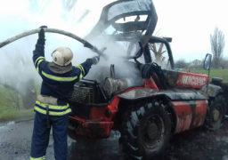 У Золотоніському районі на дорозі загорівся автонавантажувач