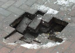У середмісті Черкас провалився тротуар