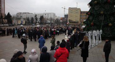 До Дня Соборності України на центральній площі Черкас утворили живий ланцюг
