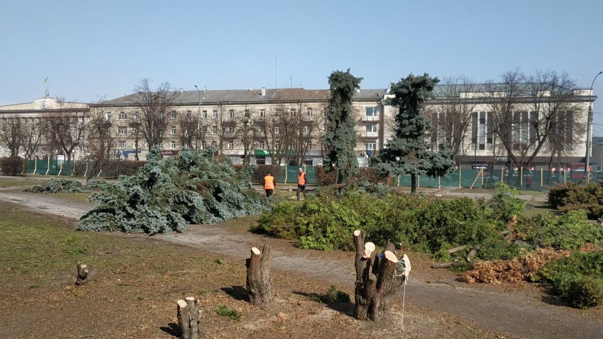 сквер Юність, Черкаси, спиляли дерева, реконструкція,