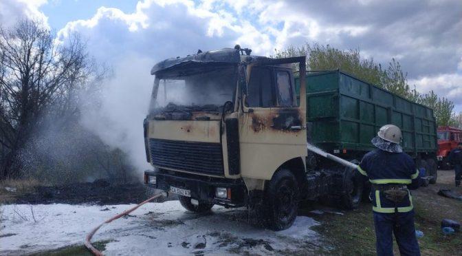 На Черкащині під час руху загорівся вантажний автомобіль