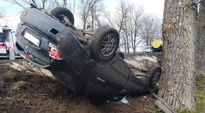 На Шполянщині злетів у кювет і перекинувся автомобіль