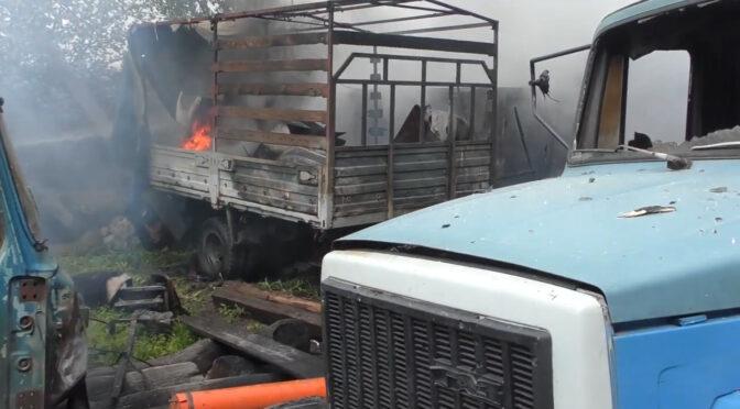 Під час пожежі на СТО у Руській Поляні згоріли вантажні КАМАЗ і ЗІЛ