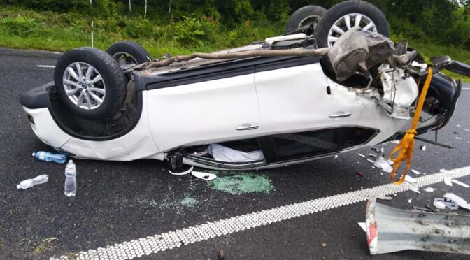 На Черкащині внаслідок потрійної ДТП автомобіль перевернувся і приземлився на дах